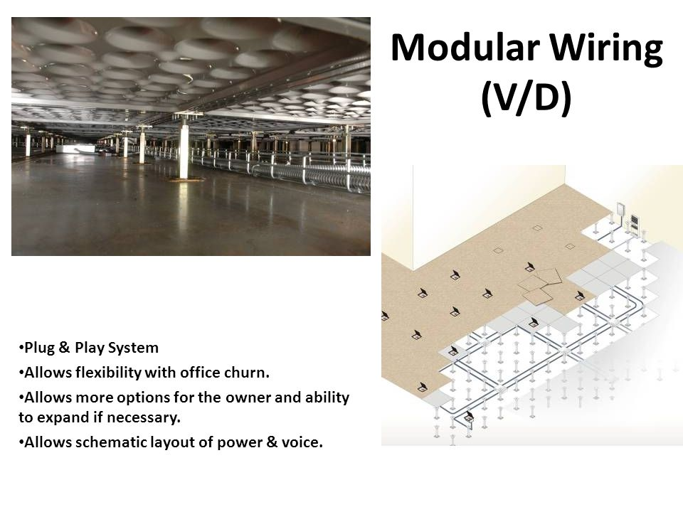 Modular Wiring (V/D) Plug & Play System Allows flexibility with office churn.