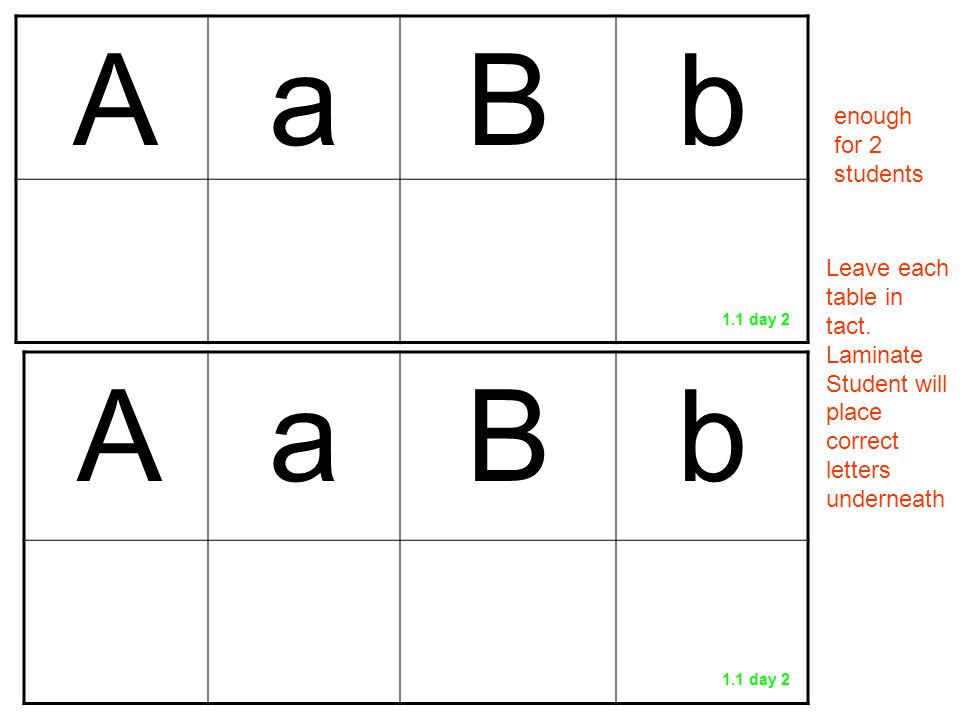 AaBb AaBb enough for 2 students Leave each table in tact. Laminate Student will place correct letters underneath 1.1 day 2