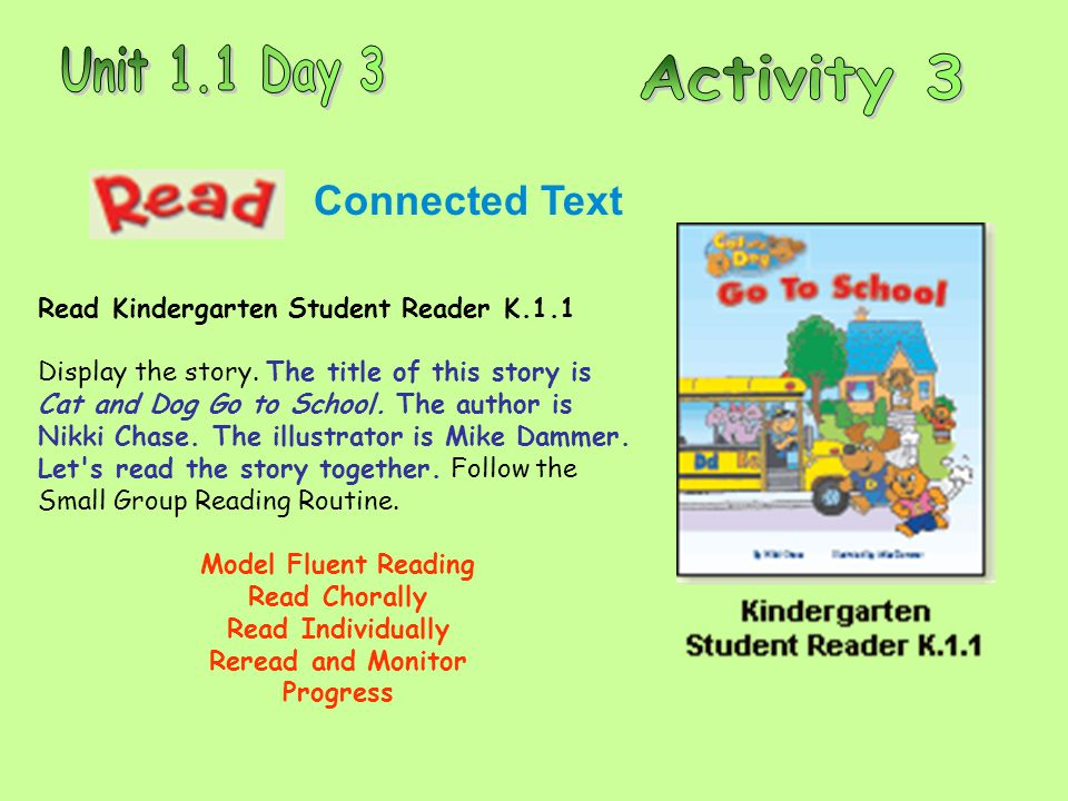 Connected Text Read Kindergarten Student Reader K.1.1 Display the story. The title of this story is Cat and Dog Go to School. The author is Nikki Chas