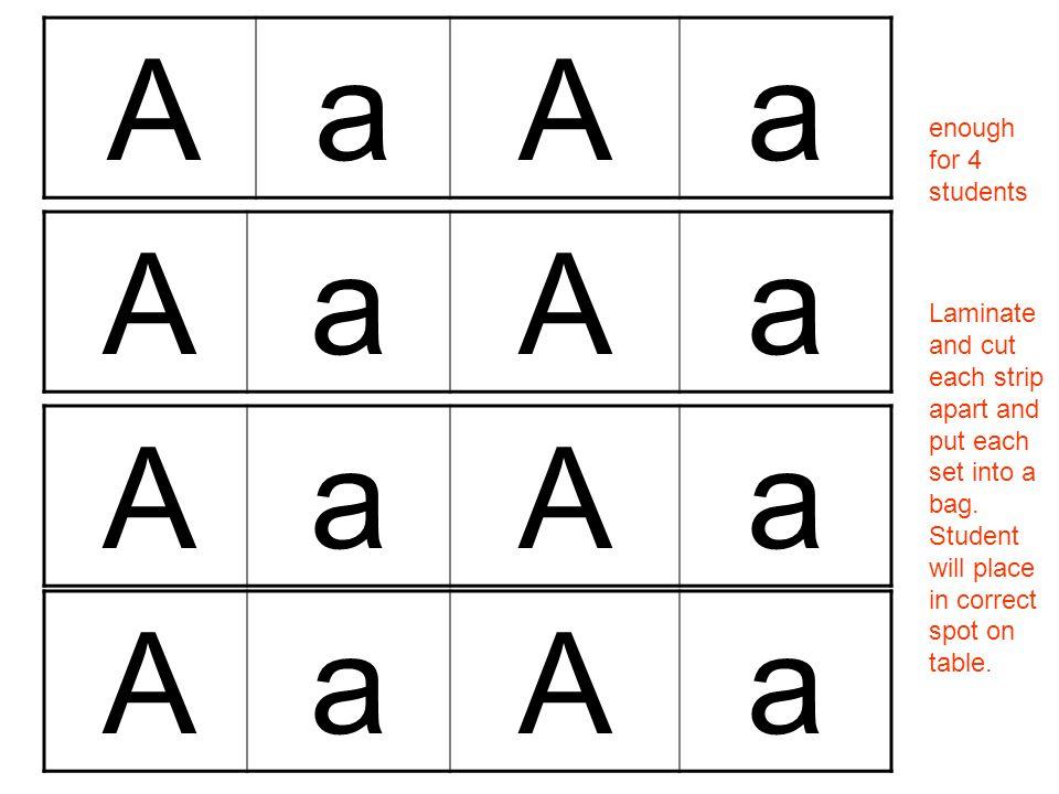 AaAa AaAa AaAa AaAa enough for 4 students Laminate and cut each strip apart and put each set into a bag.