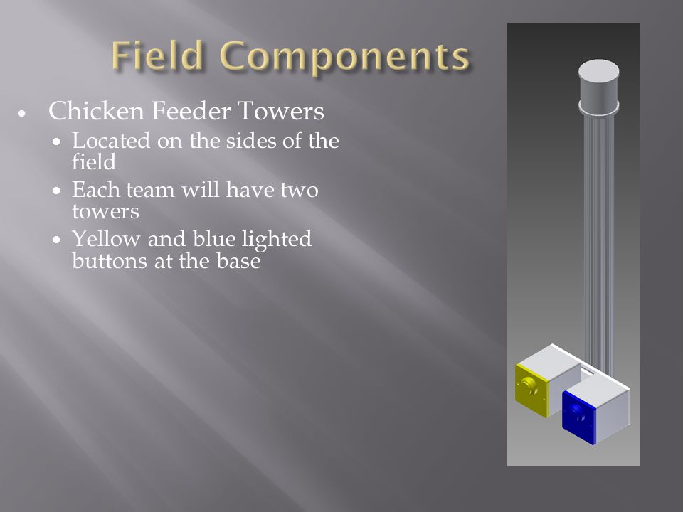 Chicken Feeder Towers Located on the sides of the field Each team will have two towers Yellow and blue lighted buttons at the base