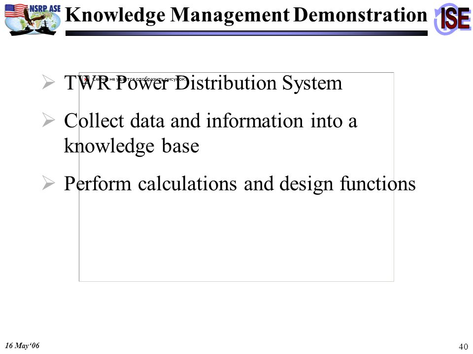 16 May06 40 Knowledge Management Demonstration TWR Power Distribution System Collect data and information into a knowledge base Perform calculations and design functions