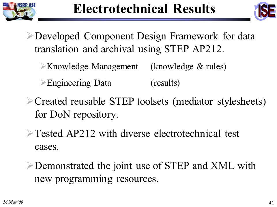 16 May06 41 Electrotechnical Results Developed Component Design Framework for data translation and archival using STEP AP212. Knowledge Management(kno