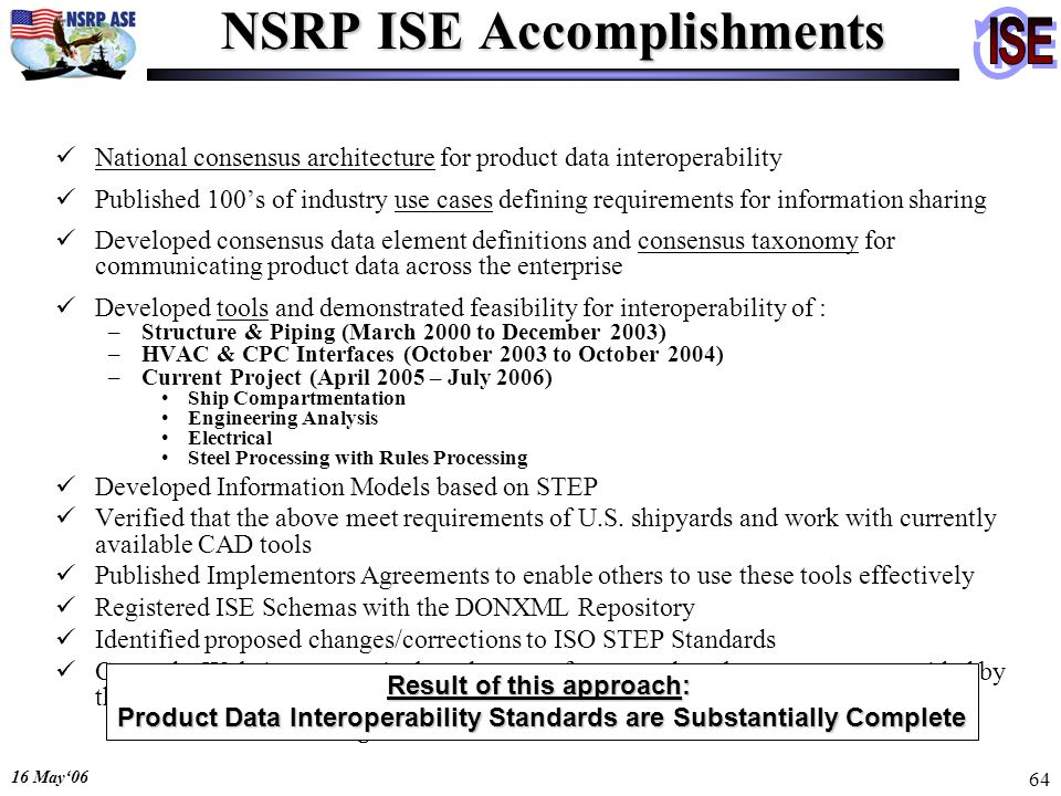 16 May06 64 NSRP ISE Accomplishments National consensus architecture for product data interoperability Published 100s of industry use cases defining r