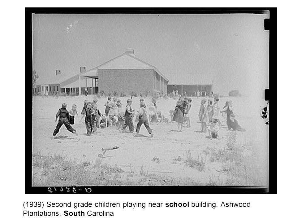 (1939) Second grade children playing near school building. Ashwood Plantations, South Carolina