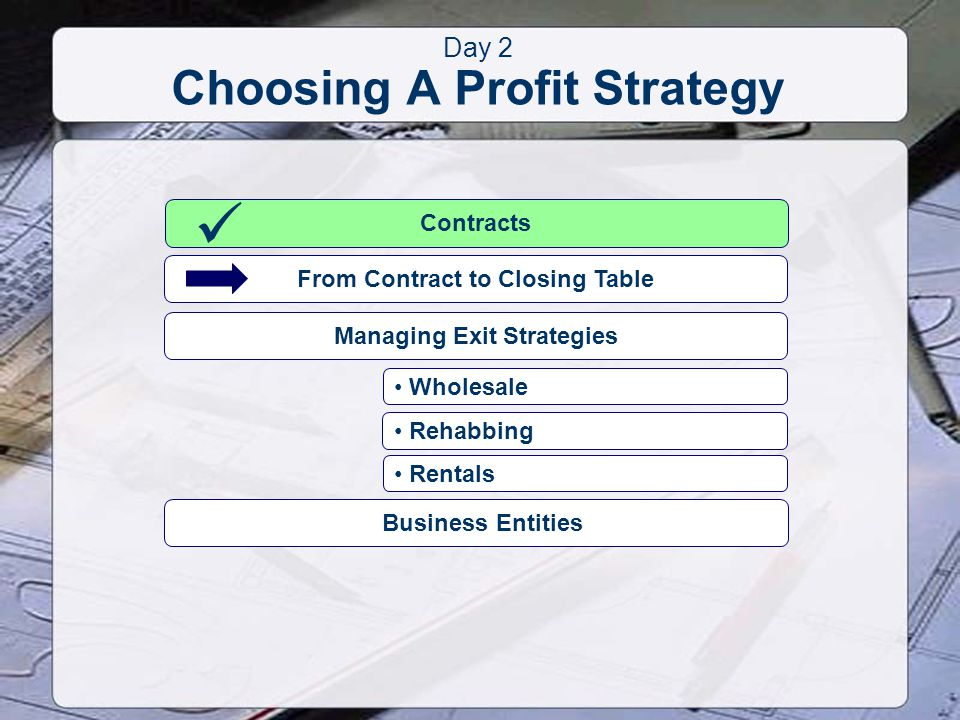 Day 2 Choosing A Profit Strategy Contracts From Contract to Closing Table Wholesale Rehabbing Rentals Managing Exit Strategies Business Entities