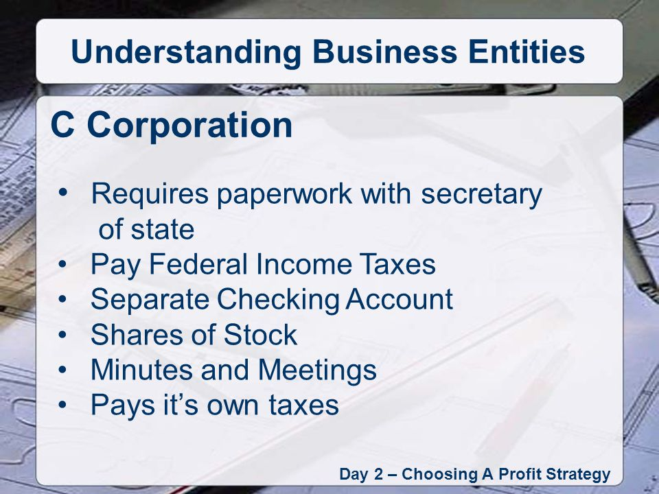 Requires paperwork with secretary of state Pay Federal Income Taxes Separate Checking Account Shares of Stock Minutes and Meetings Pays its own taxes C Corporation Day 2 – Choosing A Profit Strategy Understanding Business Entities