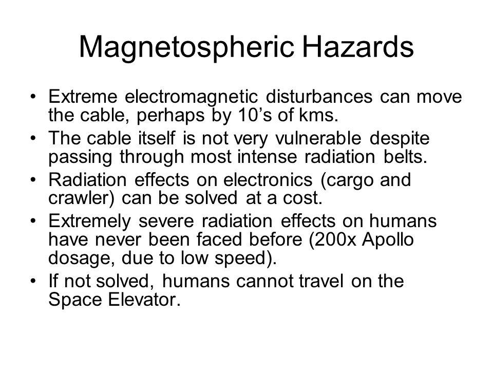 Magnetospheric Hazards Extreme electromagnetic disturbances can move the cable, perhaps by 10s of kms.