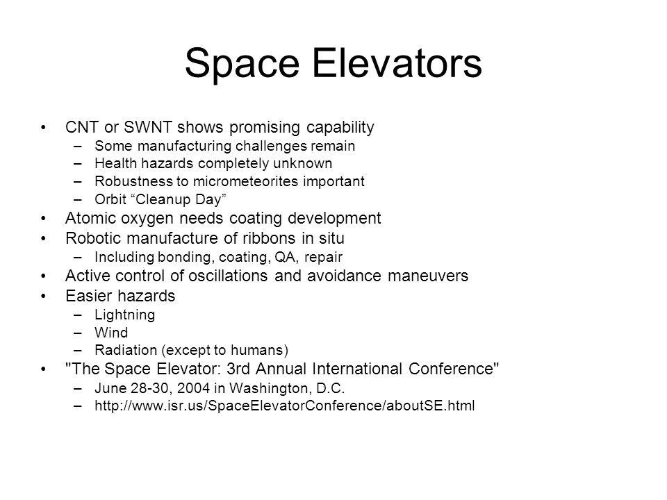 Space Elevators CNT or SWNT shows promising capability –Some manufacturing challenges remain –Health hazards completely unknown –Robustness to micrometeorites important –Orbit Cleanup Day Atomic oxygen needs coating development Robotic manufacture of ribbons in situ –Including bonding, coating, QA, repair Active control of oscillations and avoidance maneuvers Easier hazards –Lightning –Wind –Radiation (except to humans) The Space Elevator: 3rd Annual International Conference –June 28-30, 2004 in Washington, D.C.