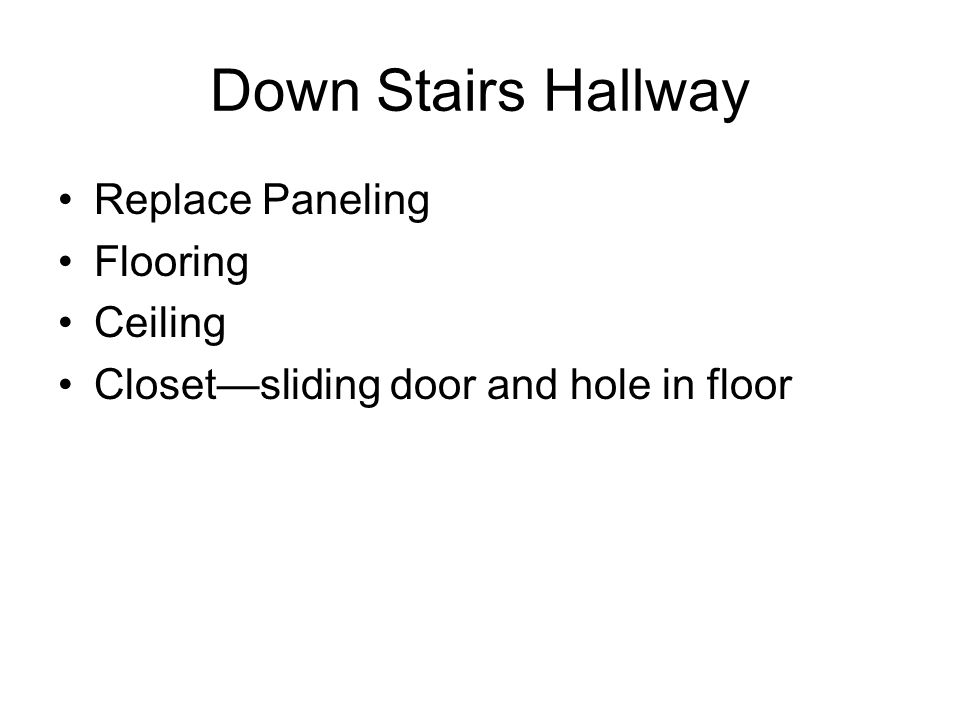 Down Stairs Hallway Replace Paneling Flooring Ceiling Closetsliding door and hole in floor