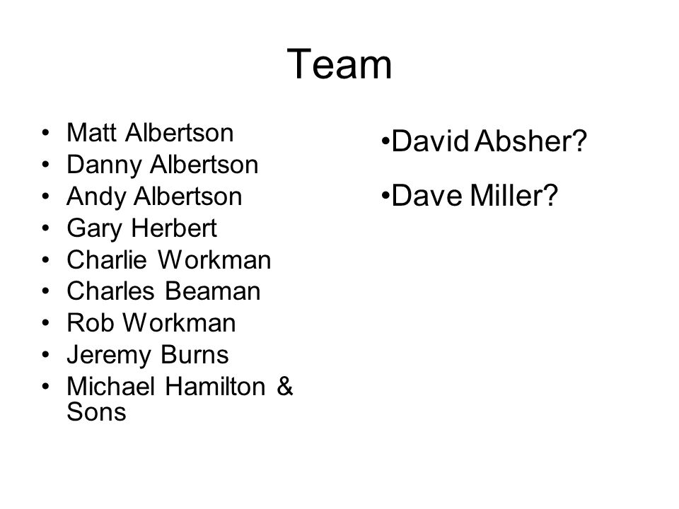 Team Matt Albertson Danny Albertson Andy Albertson Gary Herbert Charlie Workman Charles Beaman Rob Workman Jeremy Burns Michael Hamilton & Sons David Absher.