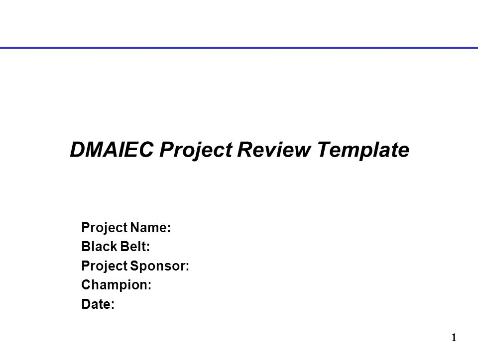 1 DMAIEC Project Review Template Project Name: Black Belt: Project Sponsor: Champion: Date: