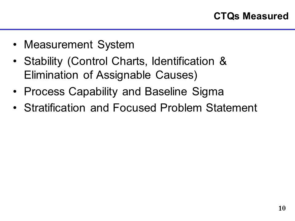 10 CTQs Measured Measurement System Stability (Control Charts, Identification & Elimination of Assignable Causes) Process Capability and Baseline Sigma Stratification and Focused Problem Statement