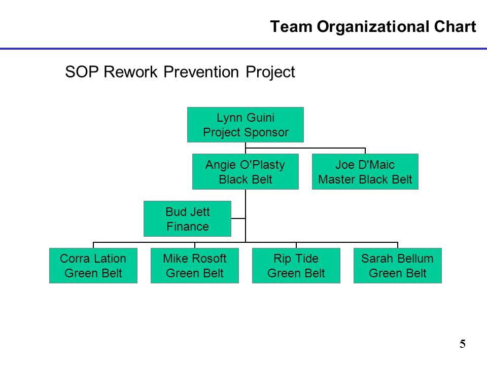 5 Team Organizational Chart SOP Rework Prevention Project