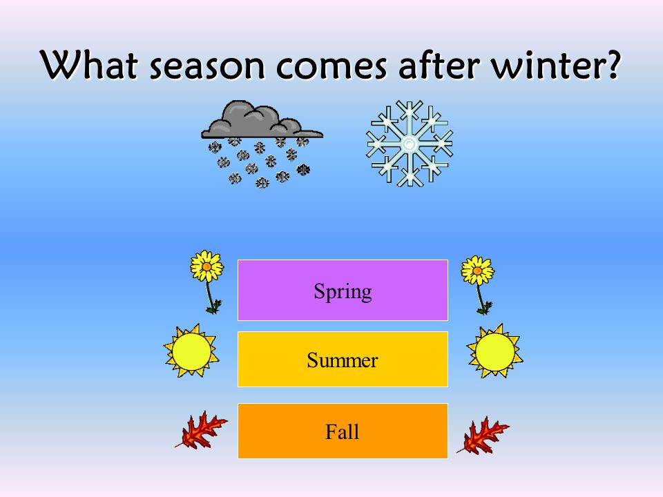 What season comes after winter? Spring Summer Fall