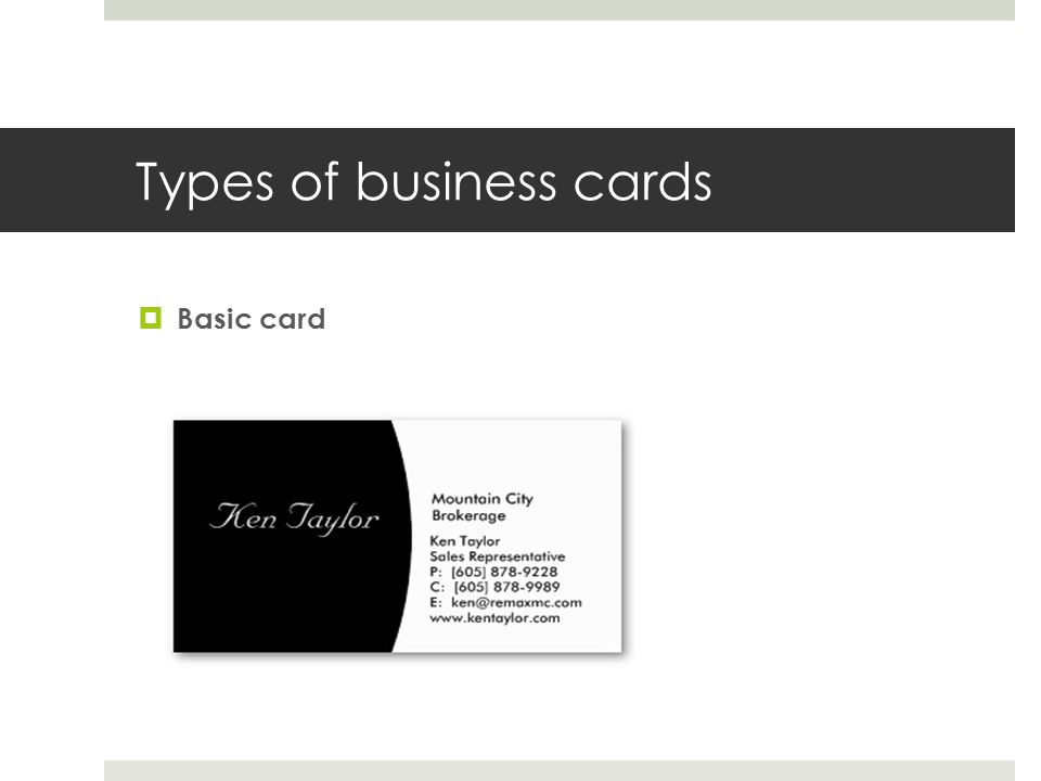 Types of business cards Basic card