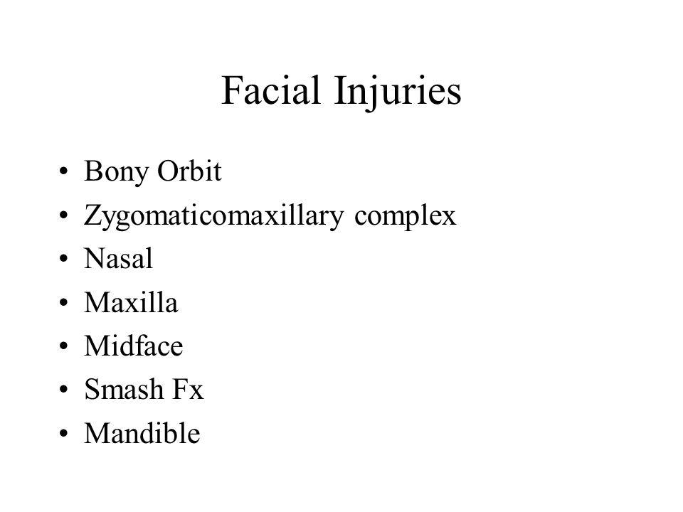 Facial Injuries Bony Orbit Zygomaticomaxillary complex Nasal Maxilla Midface Smash Fx Mandible