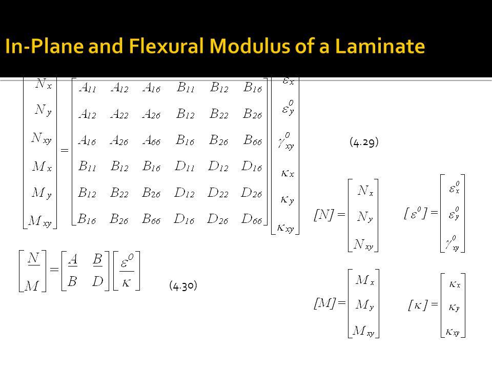 Effective flexural longitudinal modulus: (4.49) (4.50) (4.51)