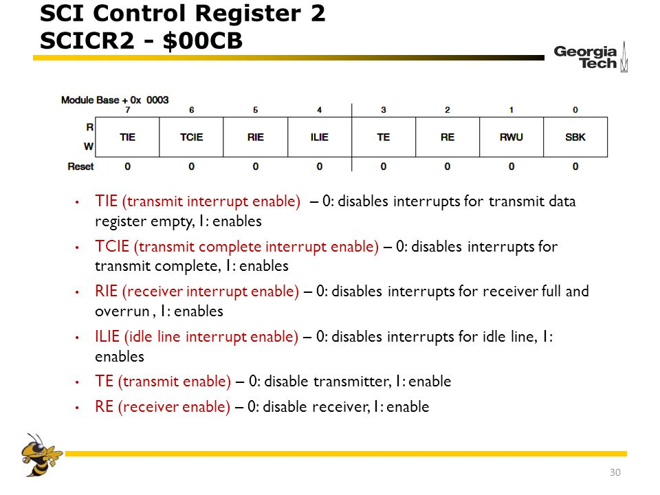 SCI Control Register 2 SCICR2 - $00CB TIE (transmit interrupt enable) – 0: disables interrupts for transmit data register empty, 1: enables TCIE (tran