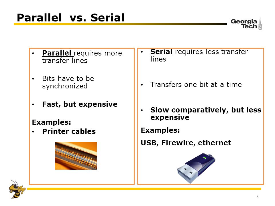 Parallel vs. Serial 5 Parallel requires more transfer lines Bits have to be synchronized Fast, but expensive Examples: Printer cables Serial requires