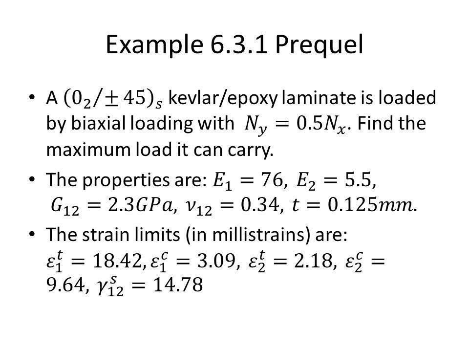 Example 6.3.1 Prequel