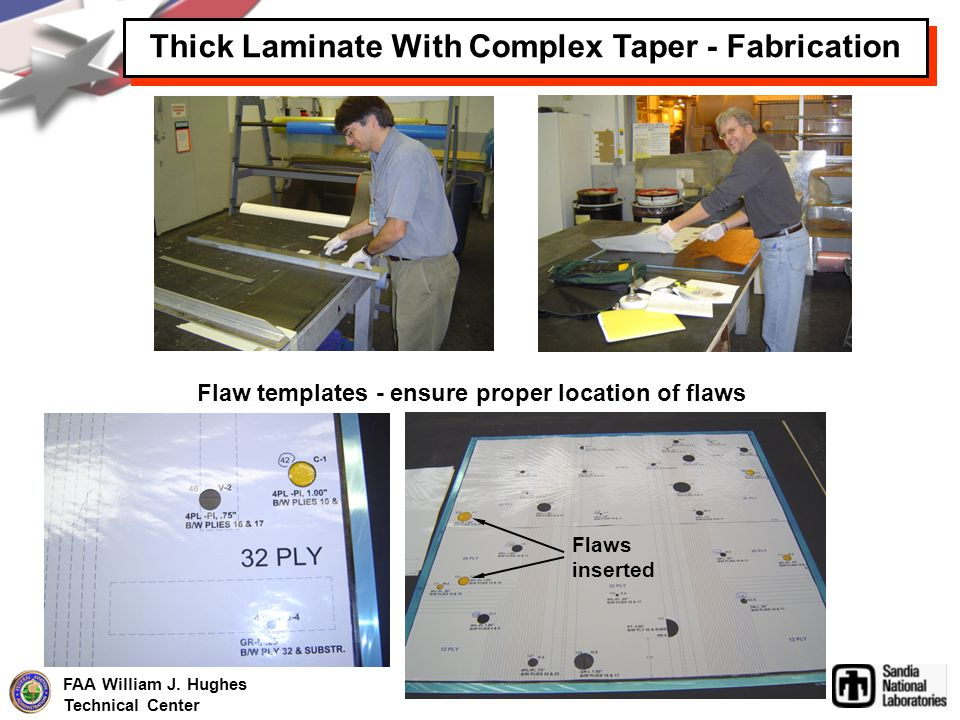 FAA William J. Hughes Technical Center Thick Laminate With Complex Taper - Fabrication Flaw templates - ensure proper location of flaws Flaws inserted