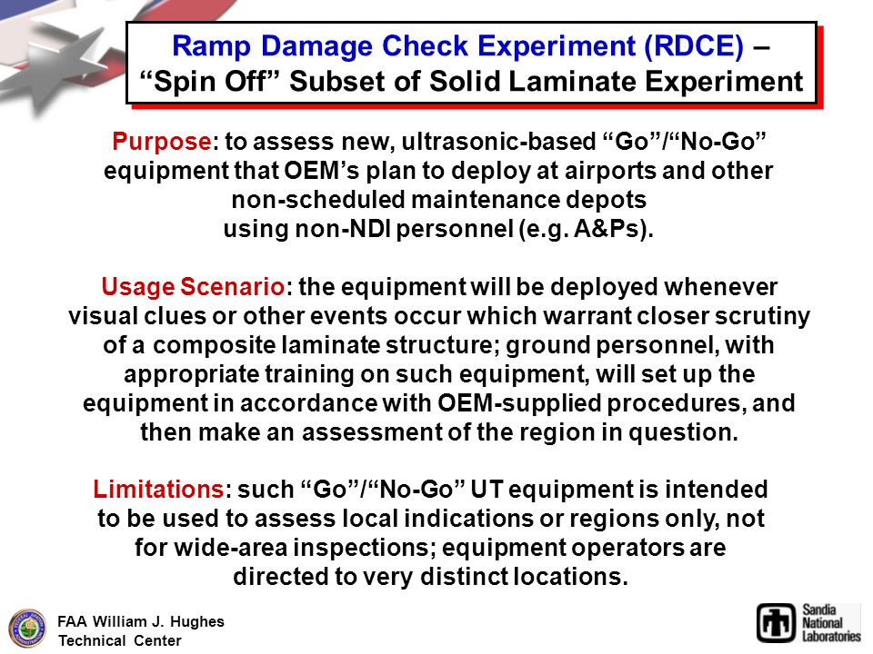 FAA William J. Hughes Technical Center Ramp Damage Check Experiment (RDCE) – Spin Off Subset of Solid Laminate Experiment Purpose: to assess new, ultr