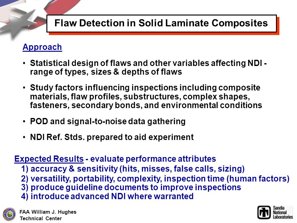FAA William J. Hughes Technical Center Approach Statistical design of flaws and other variables affecting NDI - range of types, sizes & depths of flaw