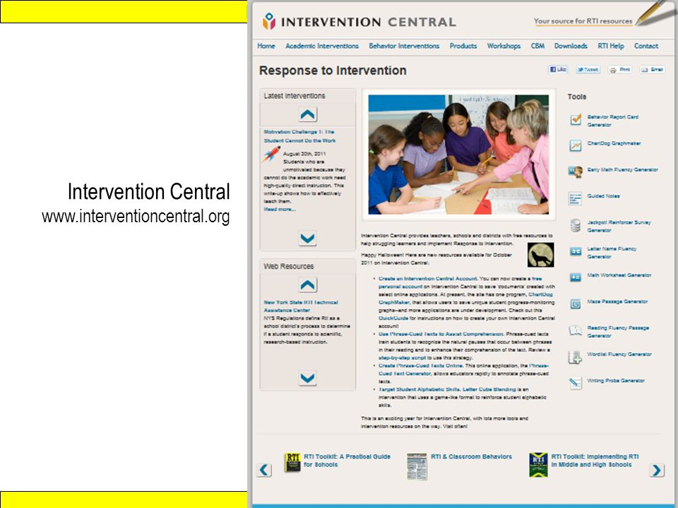 Response to Intervention www.interventioncentral.org Intervention Central www.interventioncentral.org