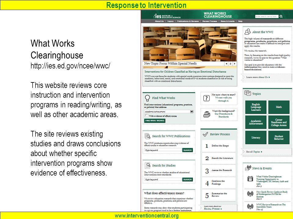 Response to Intervention www.interventioncentral.org What Works Clearinghouse http://ies.ed.gov/ncee/wwc/ This website reviews core instruction and intervention programs in reading/writing, as well as other academic areas.