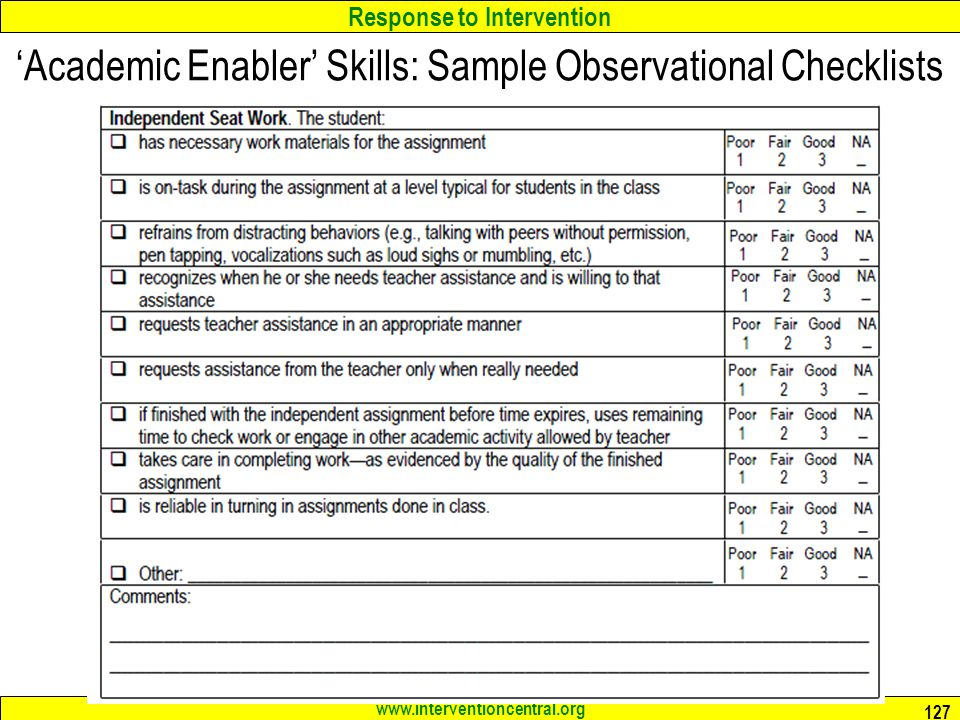 Response to Intervention www.interventioncentral.org 127 Academic Enabler Skills: Sample Observational Checklists