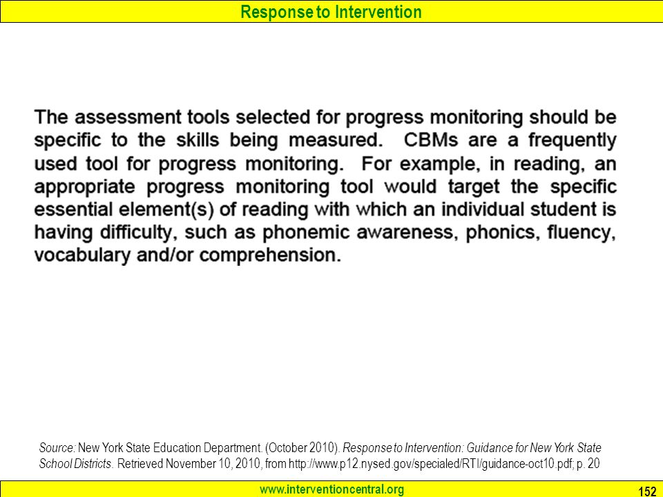 Response to Intervention www.interventioncentral.org 152 Source: New York State Education Department.