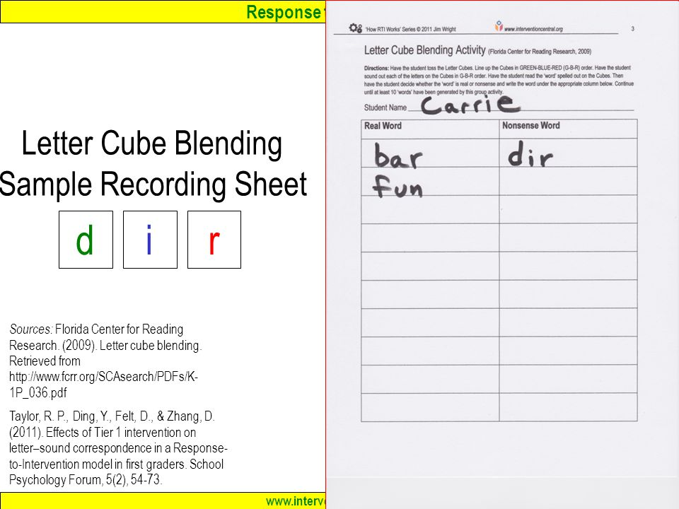 Response to Intervention www.interventioncentral.org Letter Cube Blending Sample Recording Sheet 33 Sources: Florida Center for Reading Research.