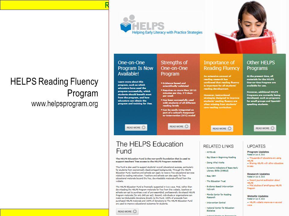 Response to Intervention www.interventioncentral.org HELPS Reading Fluency Program www.helpsprogram.org