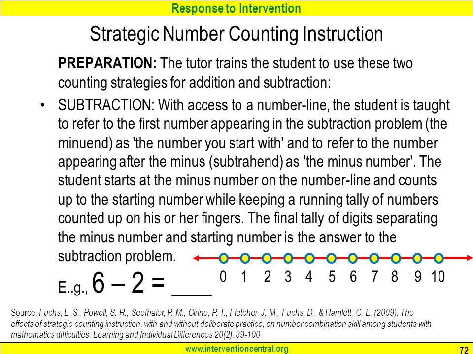 Response to Intervention www.interventioncentral.org PREPARATION: The tutor trains the student to use these two counting strategies for addition and subtraction: SUBTRACTION: With access to a number-line, the student is taught to refer to the first number appearing in the subtraction problem (the minuend) as the number you start with and to refer to the number appearing after the minus (subtrahend) as the minus number .