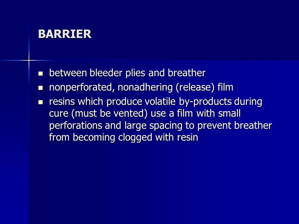 BARRIER between bleeder plies and breather between bleeder plies and breather nonperforated, nonadhering (release) film nonperforated, nonadhering (re