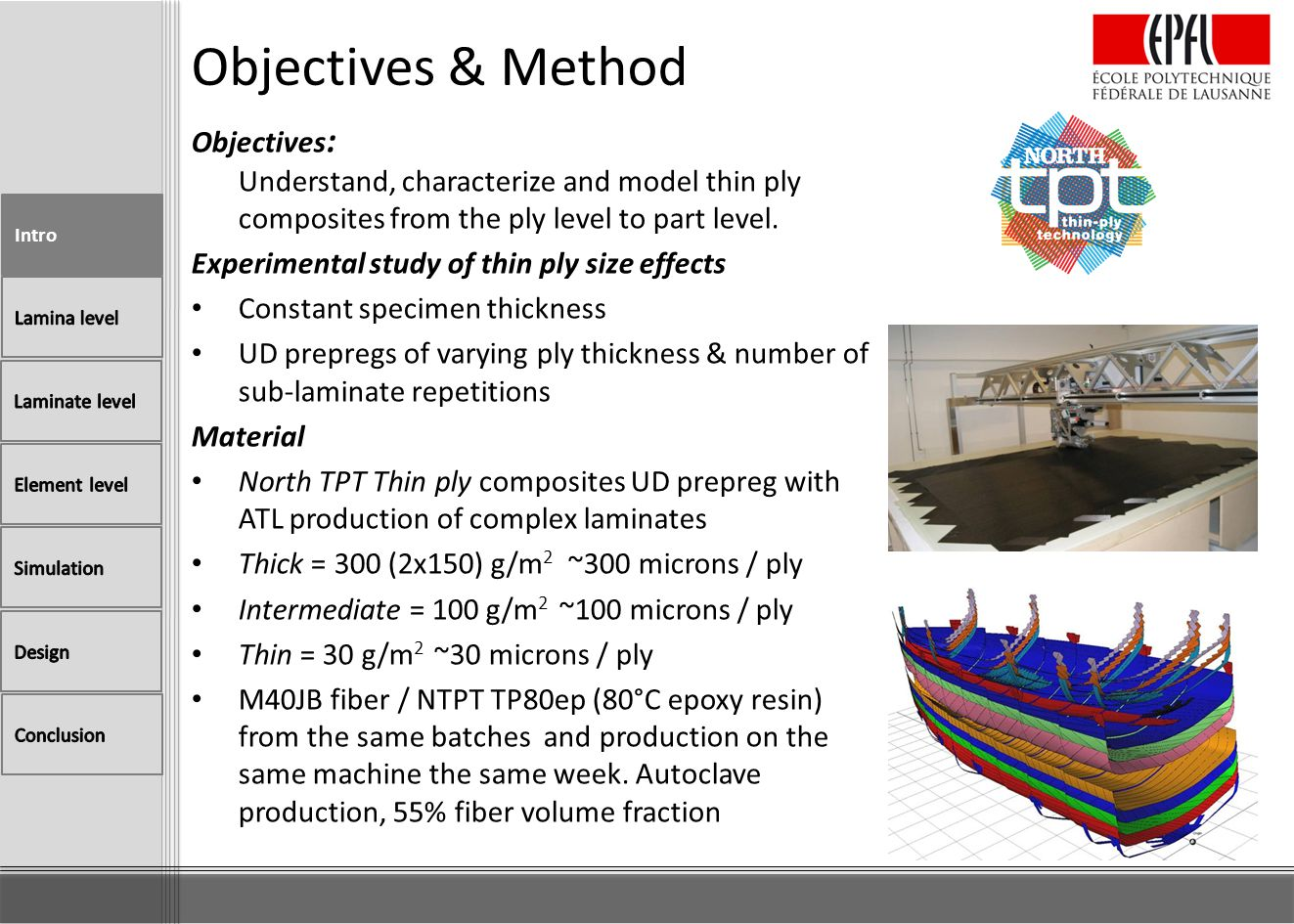 Objectives : Understand, characterize and model thin ply composites from the ply level to part level. Experimental study of thin ply size effects Cons