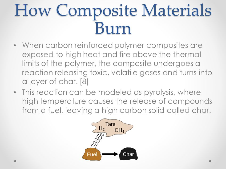 How Composite Materials Burn When carbon reinforced polymer composites are exposed to high heat and fire above the thermal limits of the polymer, the
