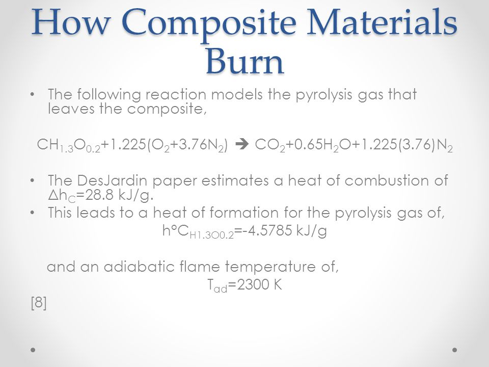 How Composite Materials Burn The following reaction models the pyrolysis gas that leaves the composite, CH 1.3 O 0.2 +1.225(O 2 +3.76N 2 ) CO 2 +0.65H