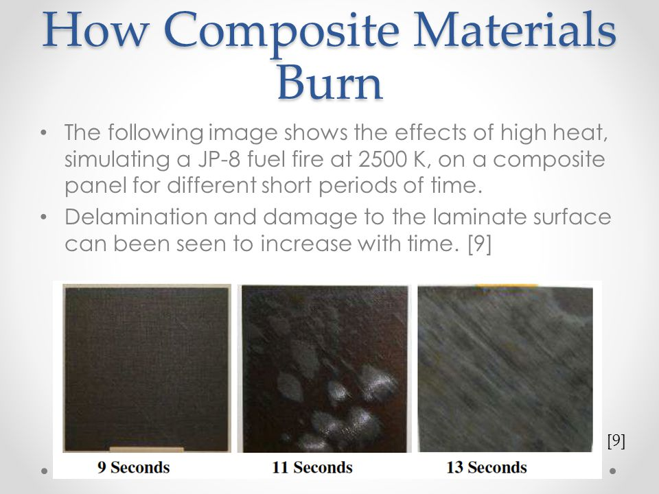 How Composite Materials Burn The following image shows the effects of high heat, simulating a JP-8 fuel fire at 2500 K, on a composite panel for diffe