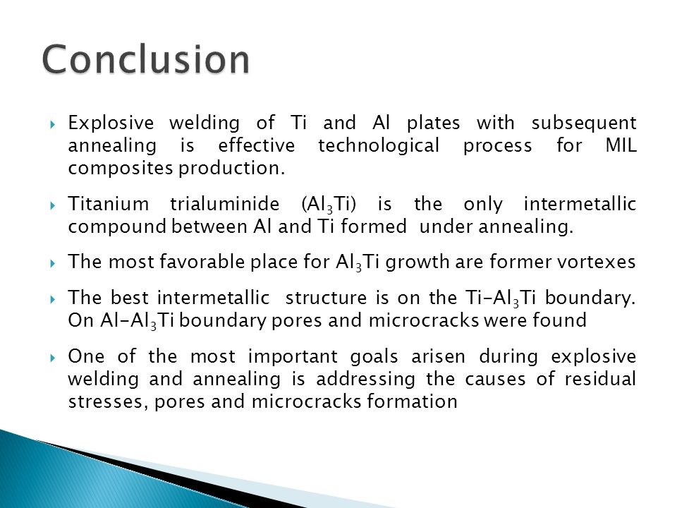 Explosive welding of Ti and Al plates with subsequent annealing is effective technological process for MIL composites production.