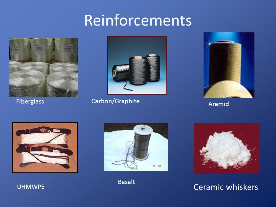Reinforcements Fiberglass Aramid Carbon/Graphite UHMWPE Basalt Ceramic whiskers