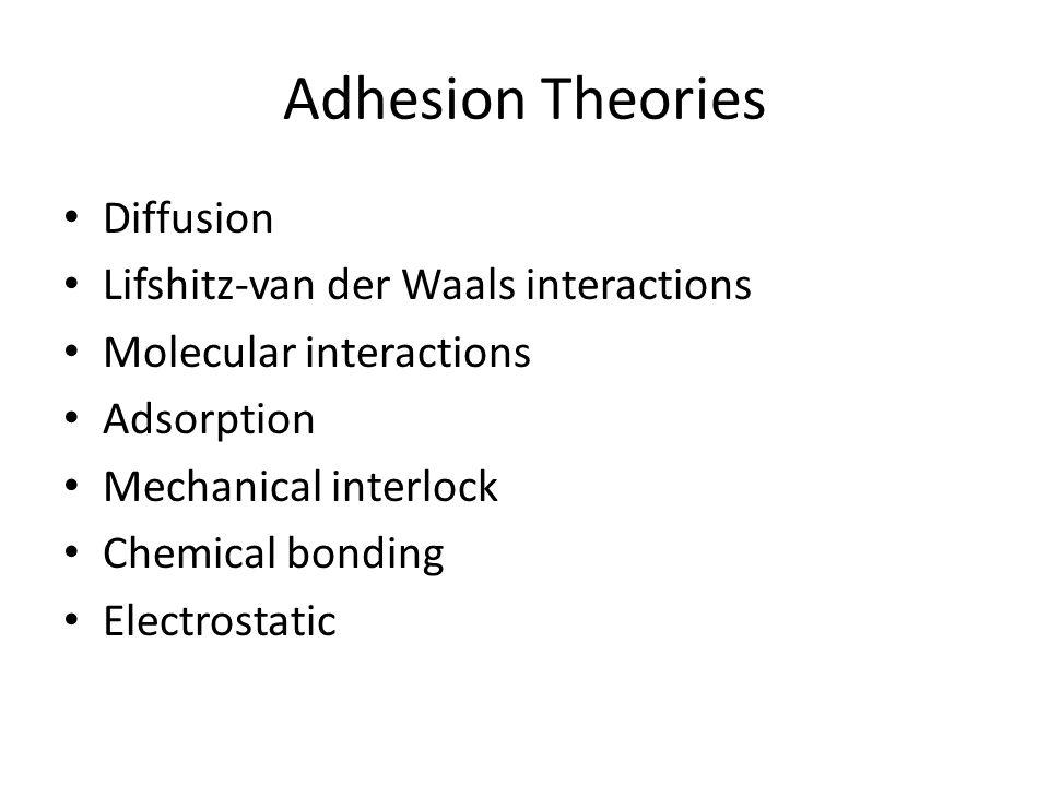 Adhesion Theories Diffusion Lifshitz-van der Waals interactions Molecular interactions Adsorption Mechanical interlock Chemical bonding Electrostatic