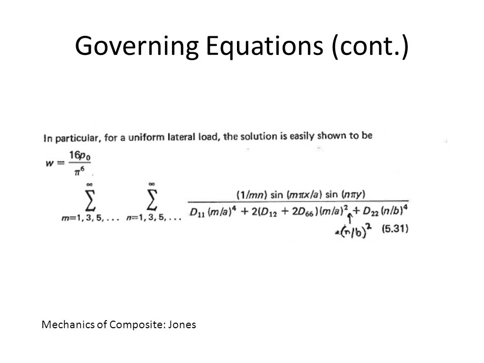 Governing Equations (cont.) Mechanics of Composite: Jones