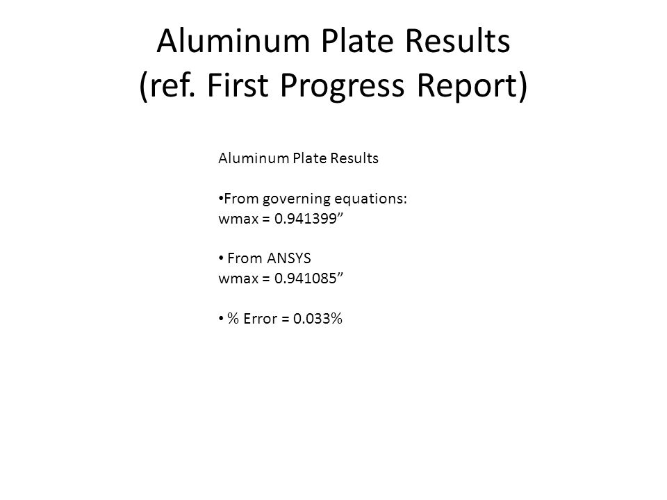 Aluminum Plate Results (ref.