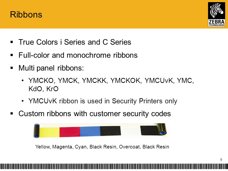 i Series Ribbons Zebra Advantages i Series intelligent media technology RFID card count Vibrant colors Automatic ribbon recognition and calibration Customized for individual applications Patented overlay protects against dye-migration and abrasion Value ClassPerformance ClassSecurity ClassRetransfer Class 9