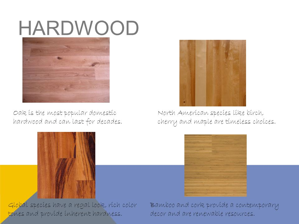 LAMINATE Features the authentic appearance of real domestic woods such as oak.