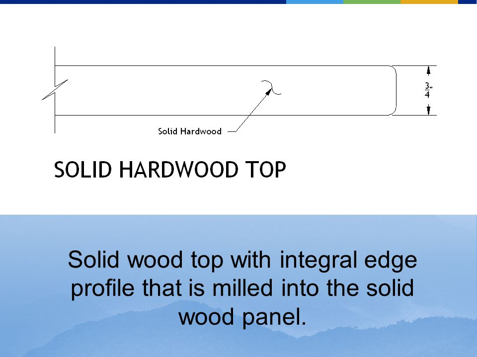 Solid wood top with integral edge profile that is milled into the solid wood panel.