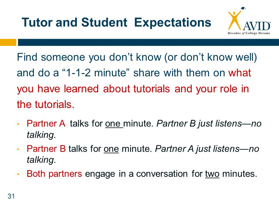 31 Tutor and Student Expectations Find someone you dont know (or dont know well) and do a 1-1-2 minute share with them on what you have learned about