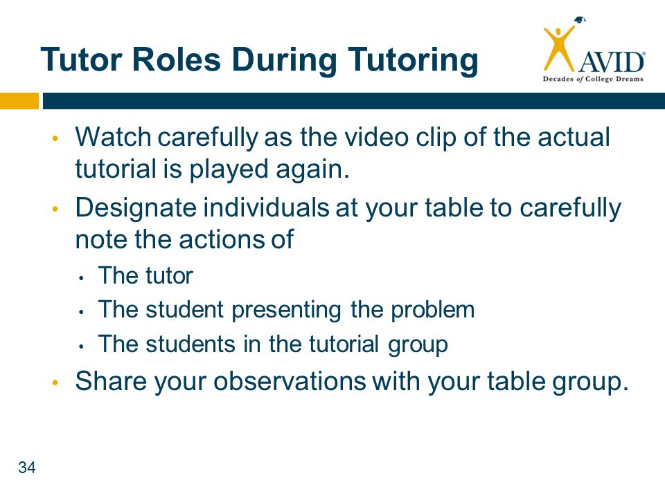 34 Tutor Roles During Tutoring Watch carefully as the video clip of the actual tutorial is played again. Designate individuals at your table to carefu